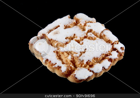biscuit with merengue stock photo, Biscuit traditional with egg white raid made with butter flour sugar and eggs isolated on white background by croreja