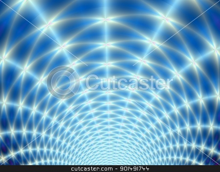 Radiant Lights on Blue stock photo, Digital fractal design featuring white lights radiating on a blue background. by Colin Forrest