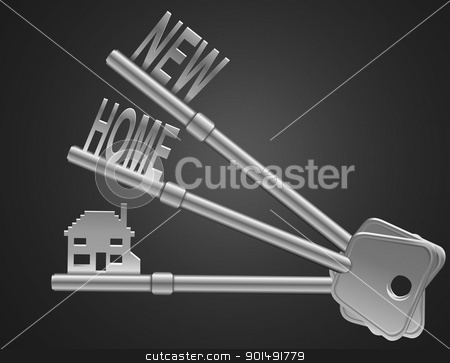 Home security concept. stock photo, Illustration depicting two keys with a 'home' concept. Dark background. by Samantha Craddock