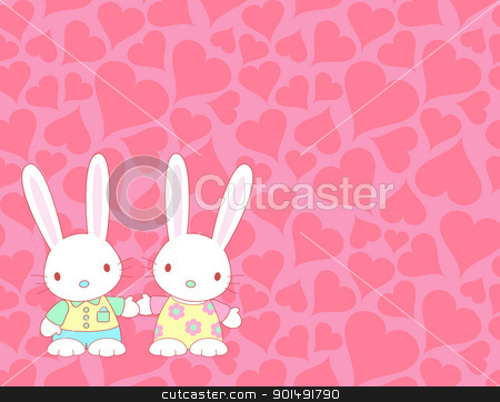 Valentine's card stock vector clipart, Valentine's card with lovely bunnies by wingedcats