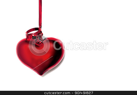 Valentine's Day Card stock photo, Close up photograph of a red shiny heart for valentine's day by mpessaris