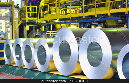 rolls of zinc steel sheet stock photo, rolls of zinc steel sheet by jordachelr