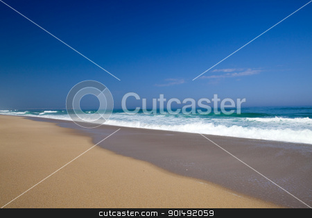 Beach stock photo, Landscape picture of the beautiful beach from Nazare, Portugal by ikostudio