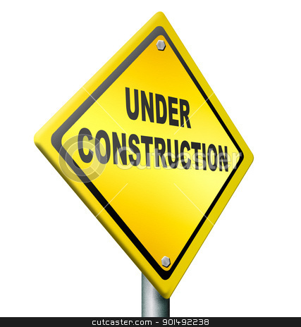 under construction stock photo, website under construction web repair or building internet page, yellow warning road sign by Dirk Ercken