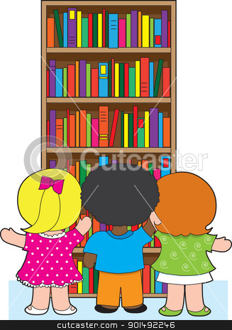 Bookcase Kids stock vector clipart, Three young school children are picking out colorful books from a towering bookcase. by Maria Bell
