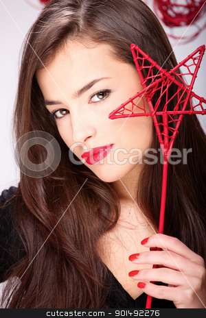 pretty long hair woman stock photo, Portrait of a pretty long hair woman by iMarin