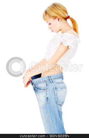 Thin lady after her diet lost kilograms stock photo, Handsame lady losted her kilograms, isolated on white background by iMarin