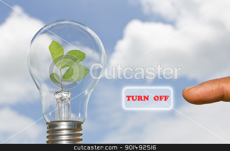 A hand presses a virtual button stock photo, A hand presses a virtual button turn off energy by stoonn
