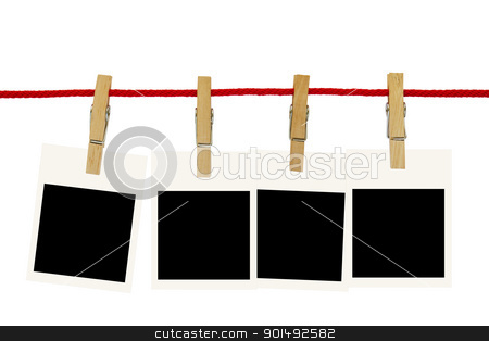 Blank photo frames  stock photo, Blank photo frames hang by wooden peg on white background by stoonn