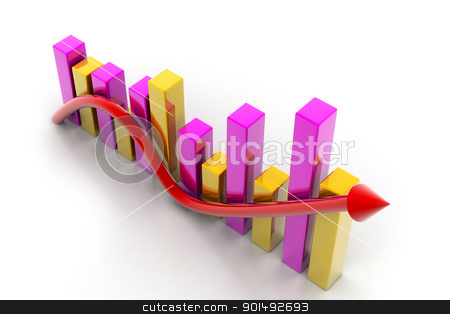 Digital illustration of business graph with arrow showing growth and profit	 stock photo, Digital illustration of business graph with arrow showing growth and profit	 by dileep