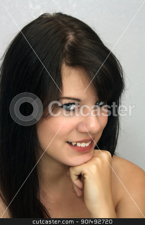 Beautiful Young Brunette, Headshot (10) stock photo, A studio close-up of a lovely young brunette with a captivating smile. by Carl Stewart