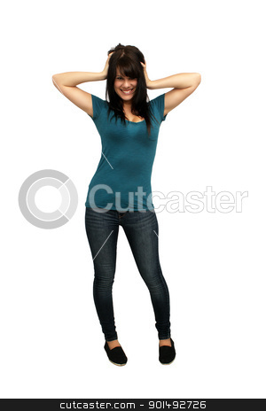 Beautiful Casual Brunette (1) stock photo, A lovely young brunette wearing casual wardrobe, full-length, isolated on a white background with generous copyspace. by Carl Stewart