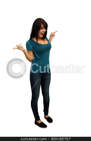 Beautiful Casual Brunette (2) stock photo, A lovely young brunette wearing casual wardrobe, full-length, isolated on a white background with an excited facial expression.  Generous copyspace. by Carl Stewart