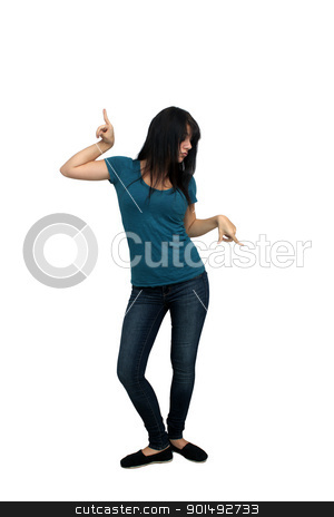 Beautiful Casual Brunette (8) stock photo, A lovely young, playful, brunette wearing casual wardrobe, full-length, isolated on a white background with generous copyspace. by Carl Stewart