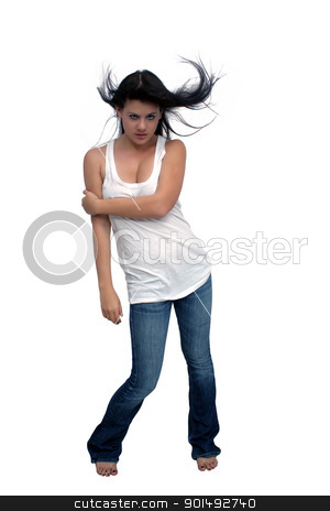 Beautiful Brunette with Hair Blowing (3) stock photo, A studio glamour full-length portrait of a lovely young brunette with her hair blowing, isolated on a white background with generous copyspace. by Carl Stewart