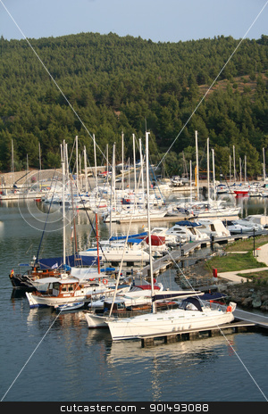 Greece. Halkidiki.Sithonia. Porto Carras. Yachts  stock photo, Greece. Halkidiki.Sithonia. Porto Carras. Bay of Meliton hotel. Yachts  by Morozova Oxana