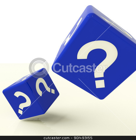 Question Mark Dice As Symbol For Questions And Answers stock photo, Question Mark Blue Dice As Symbol For Questions And Answers by stuartmiles