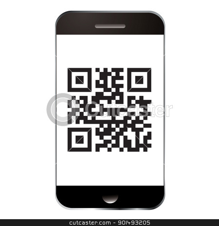 Smart phone qr stock vector clipart, Qr code for scanning with smart mobile or cell phone by Michael Travers