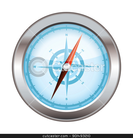 Compass icon modern stock vector clipart, Blue icon symbol for a compass with silver dial by Michael Travers