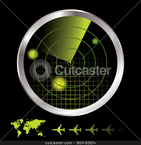 Radar monitor stock vector clipart, Aircraft radar for airport with world map and plane icon by Michael Travers