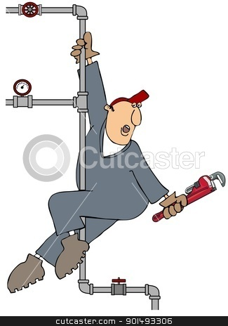 Plumber Pole Dance stock photo, This illustration depicts a plumber holding a wrench while pole dancing on a section of piping. by Dennis Cox