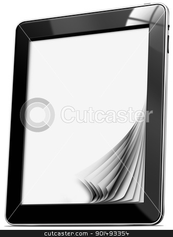 Tablet computer with pages stock photo, Black tablet computer with blank pages on white background by catalby