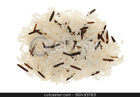 Pile of long grain brown rice on white stock photo, Pile of long grain brown rice on white isolated on white background. Unlike white rice, brown rice retains the bran and the germ, which means it is more nutritious and has more fiber than white rice. by Oleg