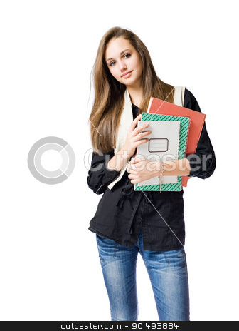 Beautiful young brunette student. stock photo, Portrait of a beautiful young friendly brunette student girl. by exvivo