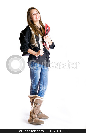 Cute smiling young student. stock photo, Full length portrait of a cute smiling young student girl. by exvivo