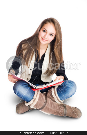 Cute young student girl sitting and reading. stock photo, Portrait of a beautiful cute young student girl sitting and reading. by exvivo