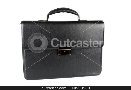 black briefcase stock photo, black male briefcase isolated on white background by olinchuk