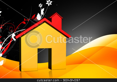 Digital illustration of real estate symbol in color background	 stock photo, Digital illustration of real estate symbol in color background	 by dileep