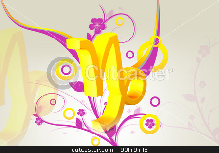 Digital illustration of Zodiac symbol in color background stock photo, Digital illustration of