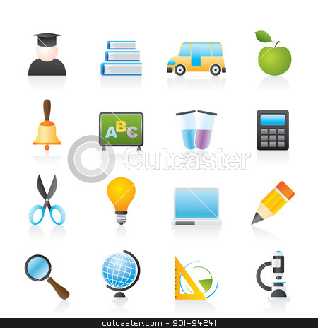 education and school icons  stock vector clipart, education and school icons - vector icon set by Stoyan Haytov
