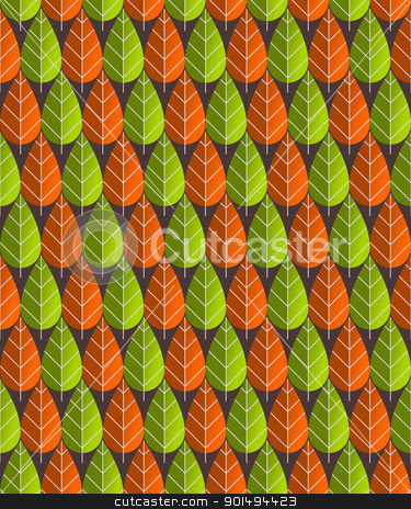 Leaves Pattern Illustration stock vector clipart, Illustrated seamless pattern of red and green leaf shape by Vitezslav Valka
