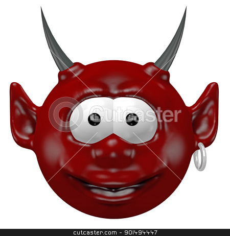 devil head stock photo, cute devil head - 3d cartoon illustration by J?