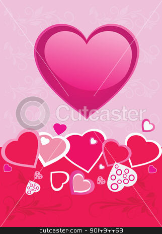 Hearts background stock vector clipart, Valentines Day background with Heart by monicaodo