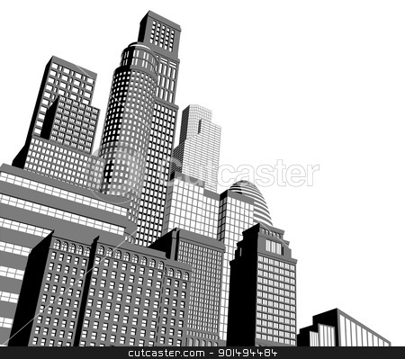 Monochrome city skyscrapers stock vector clipart, Monochrome gray and black and white city illustration with dramatic perspective by Christos Georghiou