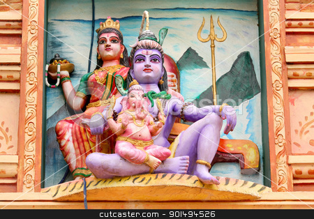 Hindu gods stock photo, Hindu god lord Shiva, Godess Parvathi and Ganeha statues by Sreedhar Yedlapati