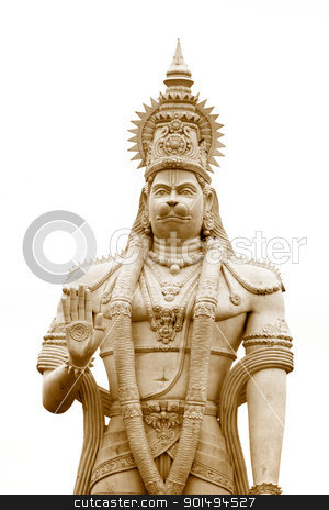 Hanuman stock photo, Hindu god Hanuman statue against white background by Sreedhar Yedlapati