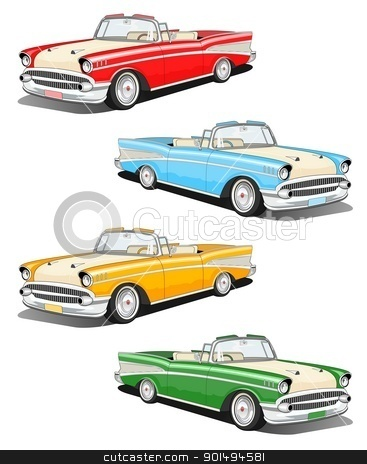 Classic car set stock photo, Set of four classic car illustration by Sreedhar Yedlapati