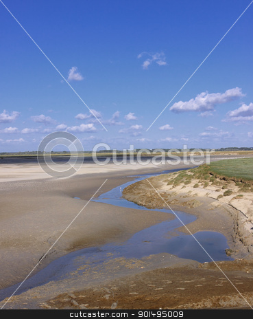 seascape and beach at low tide on the coast of opal in France stock photo, seascape and beach at low tide on the coast of opal in France by Chretien