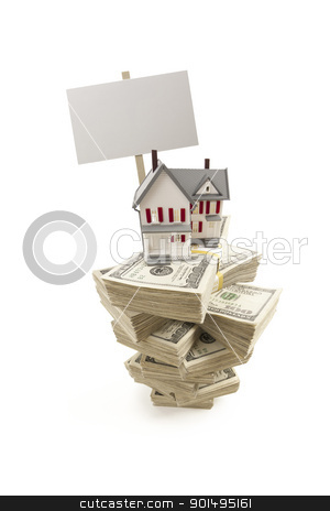 Small House on Stacks of Hundred Dollar Bills and Blank Sign stock photo, Small House on Stacks of Hundred Dollar Bills and Blank Sign Isolated on a White Background. by Andy Dean