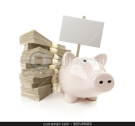 Pink Piggy Bank with Stacks of Money and Blank Sign stock photo, Pink Piggy Bank with Stacks of Hundreds of Dollars and Blank Sign Isolated on a White Background. by Andy Dean
