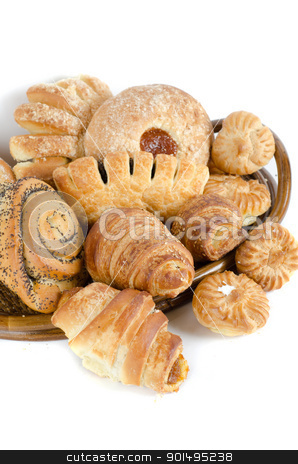 Bakery foodstuffs set stock photo, Bakery foodstuffs set on a white background by olinchuk