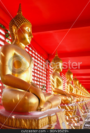 Buddha image in row stock photo, Buddha image in row by stoonn
