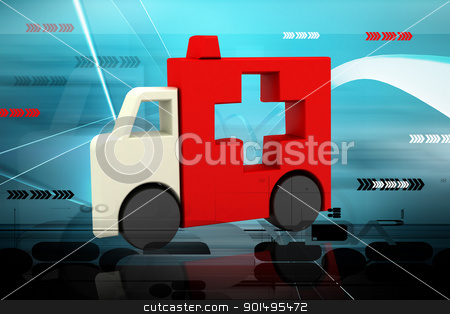 Highly rendering ambulance symbol in color background stock photo, Highly rendering ambulance symbol in color background by dileep