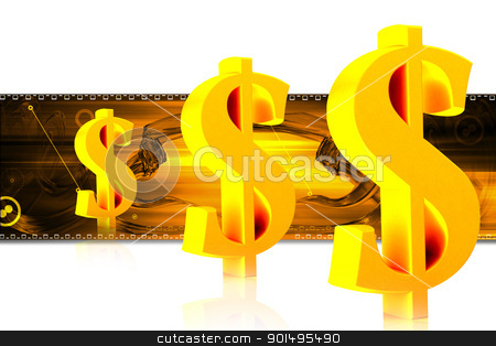 Digital illustration of dollar sign in colour background stock photo, Digital illustration of dollar sign in colour background by dileep