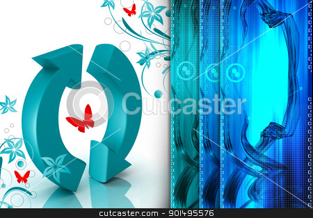 Digital illustration of recycle symbol in color background stock photo, Digital illustration of recycle symbol in color background by dileep