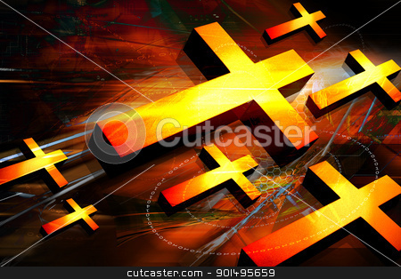 Digital illustration of  Religious sign in color background stock photo, Digital illustration of